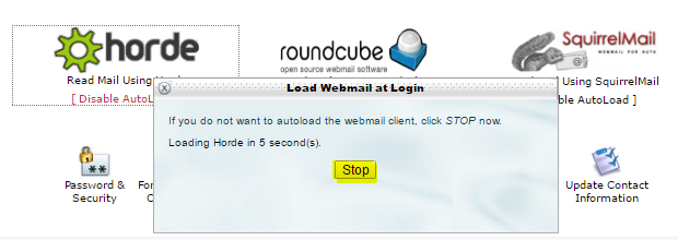 How to : Disable AutoLoad for Webmail (Horde/SquirrelMail